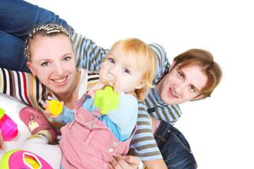 happy family over white