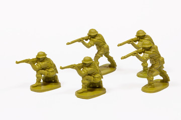 Plastic toy soldiers isolated on white