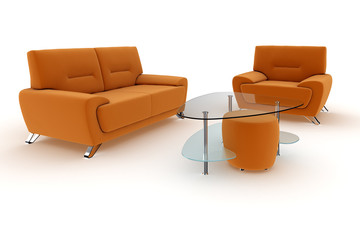Living room suite in orange