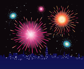 Fireworks display in the city. VECTOR ILLUSTRATION.