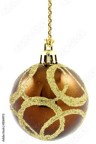 Boule Marron Decoration Sapin Chaine Or Fond Blanc Photo Libre De