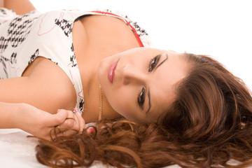 closeup portrait of the young beautiful woman