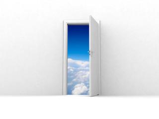 opened door to blue sky