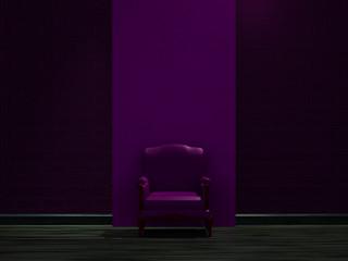 Alone purple chair near dark wall