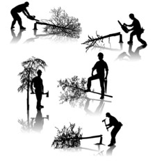 Isolated forestry workers with different tools