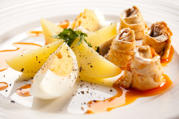 Marinated herring fillets, eggs and potatoes