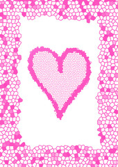 frame with pink tesselated heart