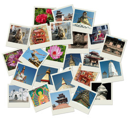 Stack of photo shots with Nepal landmarks