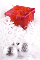 Boxes and Ornaments - Isolated Christmas Background