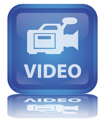 """ Video"" Button (square - blue - vector - reflection)"