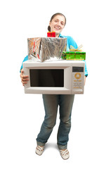 Girl with microwave oven and gifts