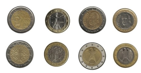 Italy, France, Spain, German, euro coins