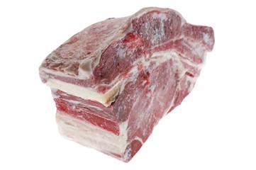 raw pork on white
