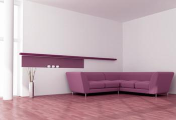 modern white and purple interior