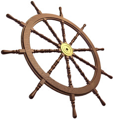 3d of a traditional ships wheel on a white background.