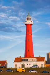 Red lighthouse in evening light