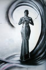 femme dans la vague