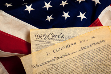 American historic documents on a flag