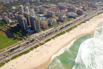 Aerial view of resorts and beach in Rio De Janeiro