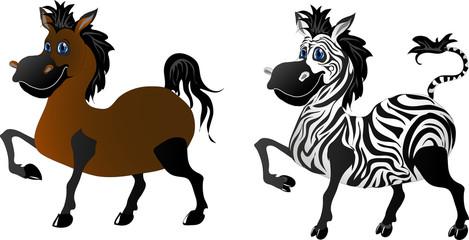 Cartoon horse & zebra