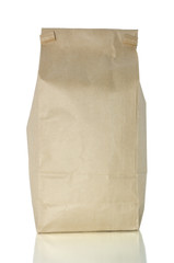 Bag of coffee on white with clipping path
