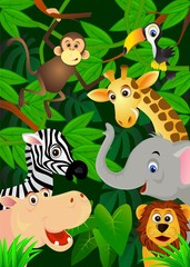 Poster de jardin Zoo Wild animals in the jungle