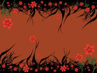 floral brown background