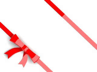 Red bow with ribbons