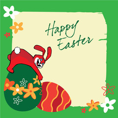 Easter banners with bunnies, colorful eggs, flowers