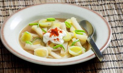 leek soup with kohlrabi