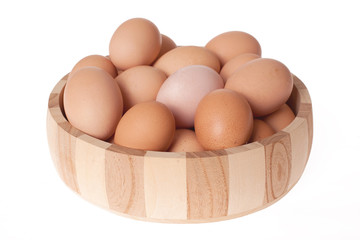 eggs in wooden bowl