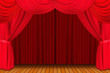Stage with closed red curtain