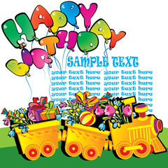 Happy birthday train carrying presents. Place for sample text.
