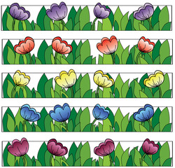 multicolored flowers lines background