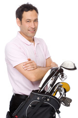 Man with golf kit