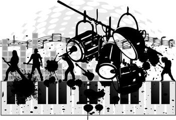 light,piano and band grunge vectorart