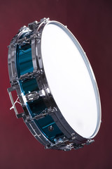 Drum Snare Blue Isolated on Red
