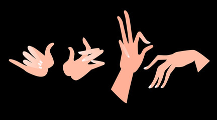Illustration of hands in different positions