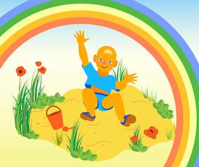 Spoed Foto op Canvas Regenboog Illustration of boy having fun on the sand