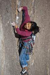 Female rock climber.