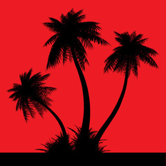 Silhouette of palms on a red background.