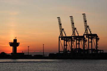Sunrise and the port cranes
