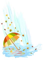Umbrella in the rain. Vector illustration