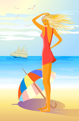 girl with colorful umbrella on the beach