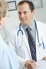 Doctor showing test results