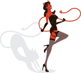 Poster de jardin Chambre d enfant Devil Woman Halloween Pin-up illustration