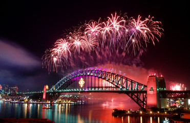 Wall Murals Sydney Sydney Harbour Bridge and fireworks