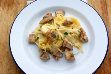 home made tagliatelle with organic chicken goulash