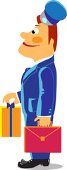 illustration of postman with gift
