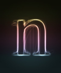 Glowing smal font. Shiny letter n (caps letter in my portfolio).